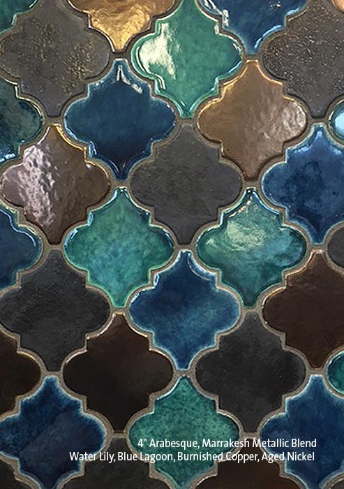 """4"""" Arabesque Marrakesh Blend, Blue Lagoon, Water Lily, Burnished Copper & Aged Nickel"""