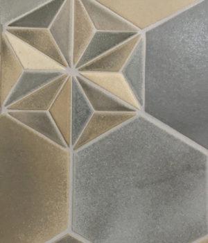 "8"" hex Titanium, Graphite and Slate with hex deco insert"