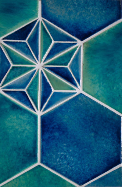 "8"" Hex and Hex Deco -Water Lily, Blue Lagoon, Sea Glass"